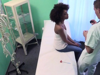 Ebony tasting doctors cum after sex