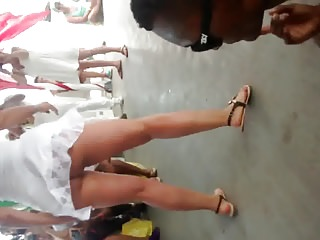 Hot Latin milf upskirt dancing