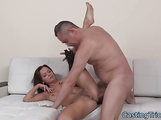 Busty casting amateur pounded by big cock