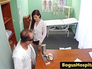 Cocksucking euro nurse creampied by the doc