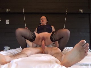Busty Babe With Corset Anal Plug & Stockings Rides Her Boytoy Till Creampie