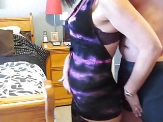 purple dress two cocks