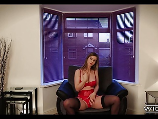 Natural Slut in Red Lingerie