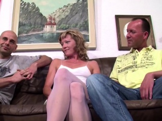 German Amateur Teen in Stockings in Thresome with two Guys