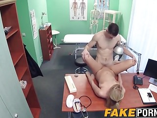 Busty blonde doctor with natural tits getting missionary sex