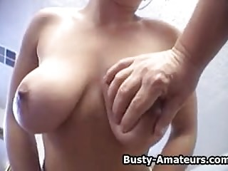 Busty amateur Gabriella sucking cock.wmv