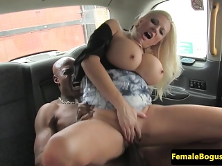 Bigtitted british cabbie riding black cock