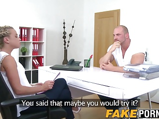 Athletic stud and sexy female casting agent have a fuck fest