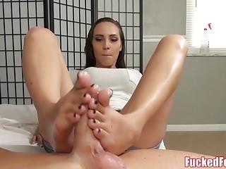 Sasha Foxx Gives Amazing Footjob only at FuckedFeet!