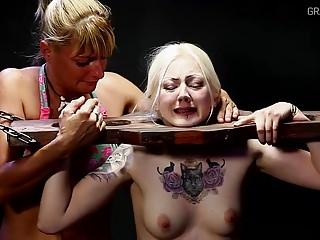 White girl caned