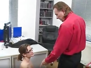 German slut Elise fucks intern in the office