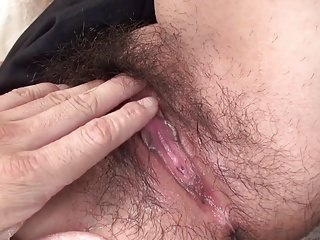 Japanese Wife Hiromi shows her hairy sticky wet pussy