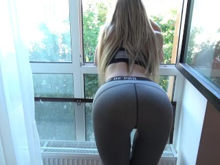 Step brother grinding and cums on yoga pants step sister with penetration