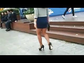 Candid Walking In High Heels And Skirt