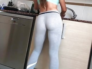 Tight Ass Washing Dishes And Dancing in yoga pants