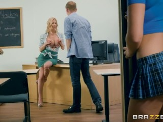 Lucky guy fucks class mate and teacher - Brazzers