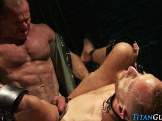 Caged buff stud cummed on