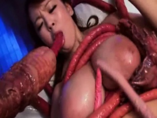 Busty Girl Cum Covered by Real Tentacles!
