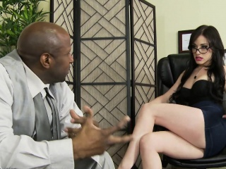 Gorgeous Jennifer receives an interracial creampie in the