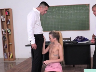 Euro schoolgirl doublepenetrated by teachers