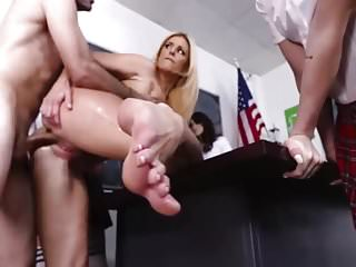 Schoolgirls Have a Footjob Lesson. IS