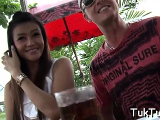 Experienced thai wench gives a handjob and some blowjob