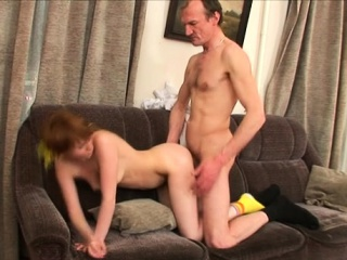 Pleasant playgirl is getting spooned by horny old teacher
