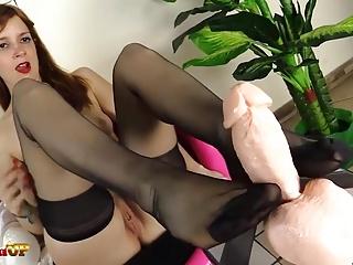 Footjob by Irina Vega in black stockings
