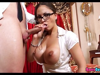 Brunette with Huge Tits and glasses