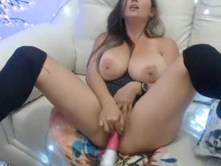 Beautiful latina playing front cam with her huge tits and dildo